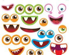 MONSTRUO de ojos y boca Clip Art: monstruo gráfico por MNINEDESIGNS