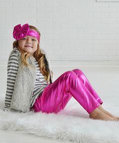 Loving this PeekABootSocks Metallic Pink Leggings & Headband - Infant, Toddler & Girls on #zulily! #zulilyfinds