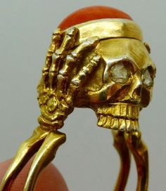 19th C Victorian vermeil Diamonds&Coral Memento Mori Skull Poison Ring/pill box in Jewelry & Watches, Vintage & Antique Jewelry, Fine | eBay