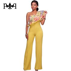1d5978fedd4 Hilove One Shoulder Women Jumpsuit Sexy Ruffles Embroidery Rompers Womens  Jumpsuits Elegant Ladies Party Wide Leg