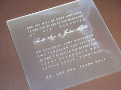 plexiglass invitation