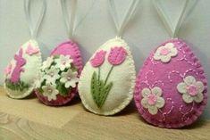 Felt floral eggs