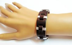 Brown And Silver Bracelet Leather Cuff Bracelet by IrisKreshes