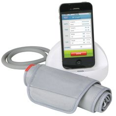 The iPhone Blood Pressure Monitor - Hammacher Schlemmer - Display readings on an iPhone and instantly email results to a doctor.