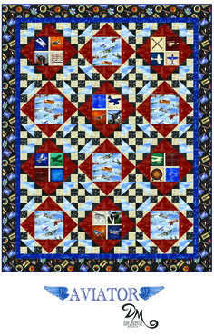 Take flight with this collection of airplane inspired fabrics, designed by Dan Morris. This free quilt pattern is designed by Heidi Pridemore of The Whimsical Workshop for Quilting Treasures.   See more free quilt patterns at our website! http://quiltingtreasures.com/projects/index.asp