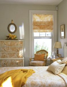 not my color scheme, but do like the idea of the repeated pattern from dresser, to shade, to seat cushion