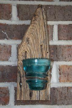 barnwood crafts | Barnwood insulator candle holder