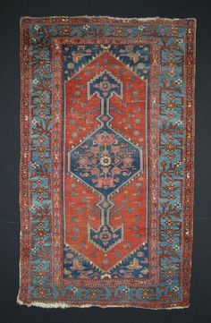 10 % OFF SALE Antique Persian Tribal Rug // Size 4x6 // Red Blue & Navy