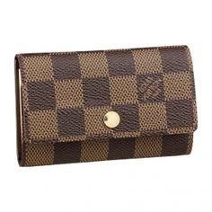 9b027322df42 Louis Vuitton Pas Cher - Louis Vuitton Damier Ebene Canvas 6 Key Holder  N62630   Louis