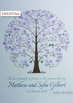 Wedding Fingerprint Tree  Wedding Guestbook by AlgoArtStudio