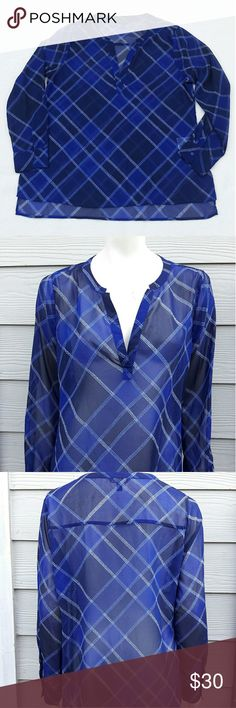 "Banana Republic plaid sheer blouse Banana Republic Womens Large Split Neck Plaid sheer Top Tunic Blouse Blue Long Sleeve hi lo  Length:30"" Bust:20""  Gently used with no flaws. Please see photos for exact details. Thank you for patronizing us. Banana Republic Tops Tunics"