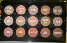 My custom MAC eyeshadow palette! All of my favorite neutrals! No filter on this to show true color. <3 #maccosmetics #macshadows #macshades #macpalette allthatglitters, expensive pink, sable, bronze, satin taupe, malt, wedge, softbrown, charcoal brown, quarry, haux, saddle, brown script, folie, handwritten