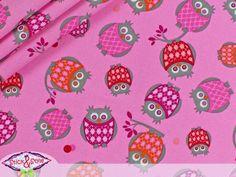 Stenzo Stoff Eulen im Karolook - pink