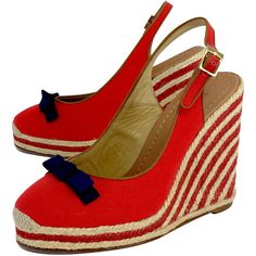 Pre-owned Kate Spade Red Canvas Espadrille Wedges ($99) ❤ liked on Polyvore featuring shoes, sandals, wedges shoes, red wedge shoes, low heel sandals, low heel ankle strap sandals and red platform sandals