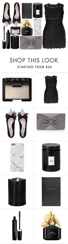 """♢SIMPLE & CHIC♢"" by tamsy13 ❤ liked on Polyvore featuring NARS Cosmetics, Miu Miu, Richmond & Finch, Voluspa, Smythson, Marc Jacobs, Elegant, evening and minidress"