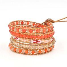 Wrap Bracelet, Wrap Boho Bracelet, Leather Bracelet, Orange Beaded Wrap Bracelet, Beaded Wrap Bracelet, Travel Bracelet, For Her Bracelet by RadiantLotusJewelry on Etsy Beaded Wrap Bracelets, Bangles, Boho, Orange, Trending Outfits, Unique Jewelry, Handmade Gifts, Leather, Travel