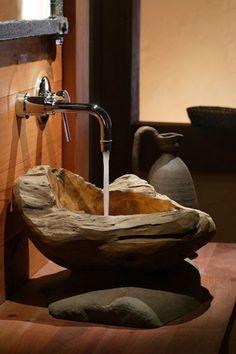 Wood & stone bath sink