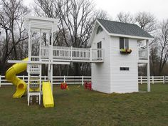 Storage shed on bottom & playhouse on top
