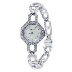 Art Deco Lady's Platinum and Diamond Octagonal Bracelet Watch