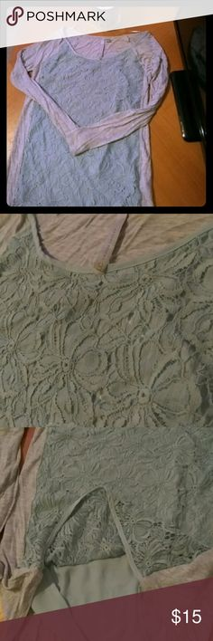 Lauren Conrad Grey Long-Sleeve Blouse Floral Lace Long-sleeve grey blouse with sea green floral lace accents on front. Worn only several times. Lauren Conrad Tops Blouses
