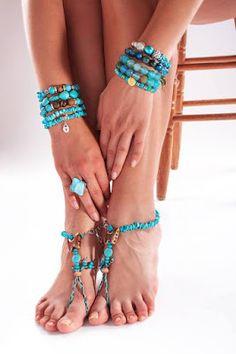 French Girls Ltd.: Barefoot Sandals Turquoise Gemstone Foot Jewelry Anklet bracelet Boho beach sandal bracelet TURQUOISE BUTTERFLY