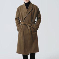 1f25081246984 ChArmkpR Men Casual Mid Long Woolen Coat Winter Loose Belt Thicken Warm  Overcoat Suit Collar Trench Coat is fashion