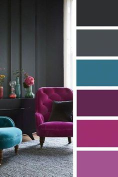 The living room color schemes to give the impression of more colorful living. Find pretty living room color scheme ideas that speak your personality. Bedroom Colors, Bedroom Decor, Master Bedroom, Bedroom Ideas, Living Room Color Schemes, Grey Living Room With Color, Living Room Decor Teal, Color Schemes With Gray, Grey Living Room Ideas Colour Palettes