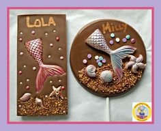 Mermaid Chocolate Gift/Mermaid Lollipop/Chocolate Mermaid/Personalised Girls Birthday/Daughter/Under the Sea Party/Mermaid Tail/Beach/Shells – Children Homemade Chocolate Bars, Giant Chocolate, Chocolate Shop, Chocolate Bark, Chocolate Gifts, Belgian Chocolate, Giant Lollipops, Chocolate Lollipops, Mermaid Gifts