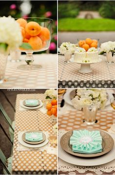 Cute square doilies, unique place cards. | Peach and Mint Wedding