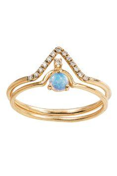 WWAKE Micropave Diamond Triangle and Nestled Opal Diamond Pairing, $1,230; wwake.com   - ELLE.com