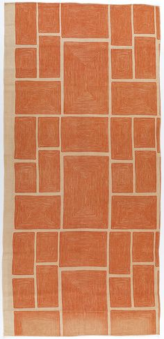 Angelo Testa, 1950–1952. Printed linen with orange rectangles composed of concentric lines.