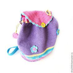 Купить Рюкзак для девочки, детский рюкзачок, бирюзовый,розовый,сиреневый - рюкзак детский, Рюкзак вязаный