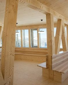Digitally Carved Alpine Timber by Gramazio & Kohler, Monte Rosa Lodge Wooden Architecture, Interior Architecture, Arch Interior, Interior Design, Timber Planks, Wood Interiors, Wood Design, Sustainability, Furniture Design