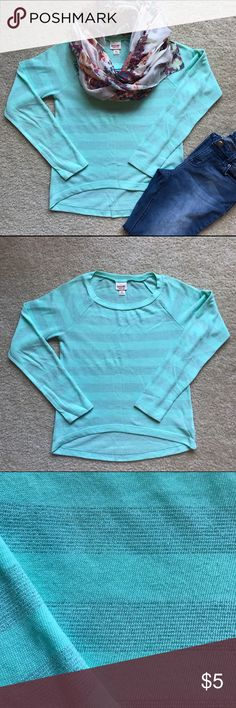 Tiffany Blue Sweater with Silver Stripes Lightweight tiffany blue sweater with silver threading horizontal stripes. Hardly worn. Mossimo Supply Co. Sweaters Crew & Scoop Necks