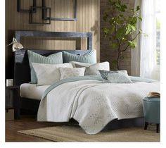 easy bedroom updates modern bedding pacifica sky blue and ivory quilt set - Master Bedroom Bedding