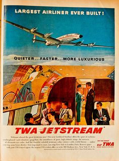 TWA Jetstream poster - Lockheed Starliner    Life Magazine, July, 1957