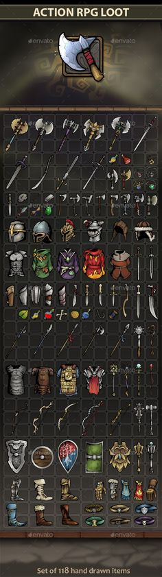 Buy Action RPG Loot by REXARD on GraphicRiver. A set of 118 full-size hand drawn Action RPG Loot items. All items are of a high quality and implemented in a profess. Simple Background Design, Game Background, Prop Design, Game Design, Gui Interface, Maya Modeling, Card Ui, Game Programming, Casual Art