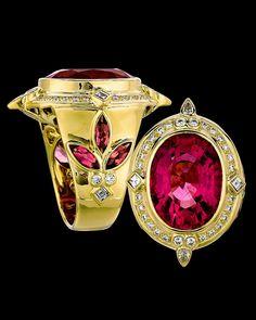 gemstone ring by crevoshay 18k gold tourmaline & diamonds