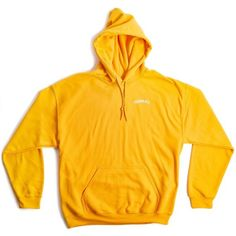 Shadow Hill Tangerine Oversized Merch Hoodie ($58) ❤ liked on Polyvore featuring tops, hoodies, yellow hoodie, oversized hoodies, hooded pullover, yellow hooded sweatshirt and oversized hooded sweatshirt