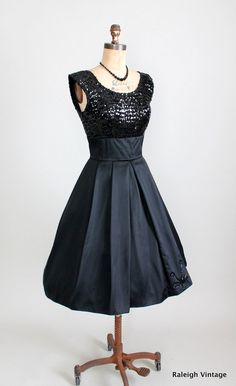 Black Sequins and Satin Party Dress. $108.80, via Etsy.