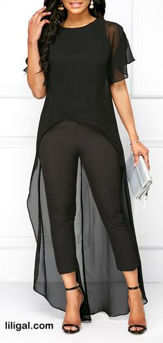 Black Round Neck High Low Top and Pants