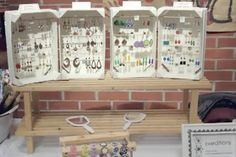 earring display from fruit crates (I think you can actually get these for free from most grocery stores so hey! free display!)