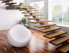 Modern Staircase with Floating staircase, Hardwood floors, High ceiling Staircase Landing, Open Staircase, Floating Staircase, Staircase Design, Stair Design, Metal Stairs, Concrete Stairs, Modern Stairs, Design Your Home