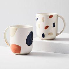 Stoneware Mugs, Ceramic Mugs, Ceramic Pottery, Ceramic Art, Slab Pottery, Thrown Pottery, Ceramic Bowls, Painted Mugs, Hand Painted