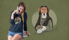 Dog Monalisa T-Shirt Design featuring an illustration of a dog in the pose and clothes of the monalisa painting. Can be used on t-shirts, hoodies, mugs, posters Shirt Print Design, Shirt Designs, Cactus Costume, Cute Baby Cow, Mona Lisa, Shirt Maker, Creative Powerpoint, Layout Template, Create A Logo