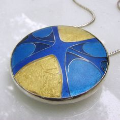 Cloisonne enamel necklace - statement necklace - Brilliant Sapphire Blue with large areas of 24k gold foil - hand fabricated necklace on Etsy, $170.00