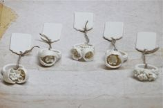 A collection of porcelain rings. Made by Nausika.
