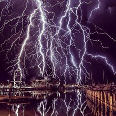 Chase Storms and Dramatic Lighting Strikes Over Perth Harbor, Australia ~ Photograph By @oliver_kay_photography Via @discover.planet
