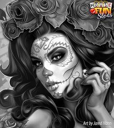 Catrina Chicano Drawings, Chicano Tattoos, Body Art Tattoos, Girl Tattoos, Skull Tattoo Flowers, Skull Girl Tattoo, Sugar Skull Tattoos, Day Of The Dead Drawing, Day Of The Dead Girl