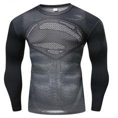 59c7ae5b05578 2018 Newest Long Sleeve T Shirt Men Crossfit Tops Punisher Superhero Skull  Superman tshirt Men Fitness Compression Shirt